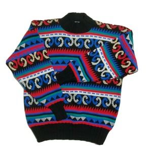 Vintage 80's Colorful Geometric Baggy Ski Sweater